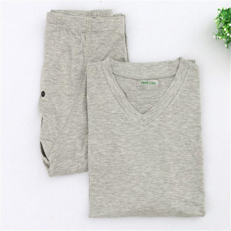 Mens V Neck Bamboo Fiber Cotton Pajama Sets