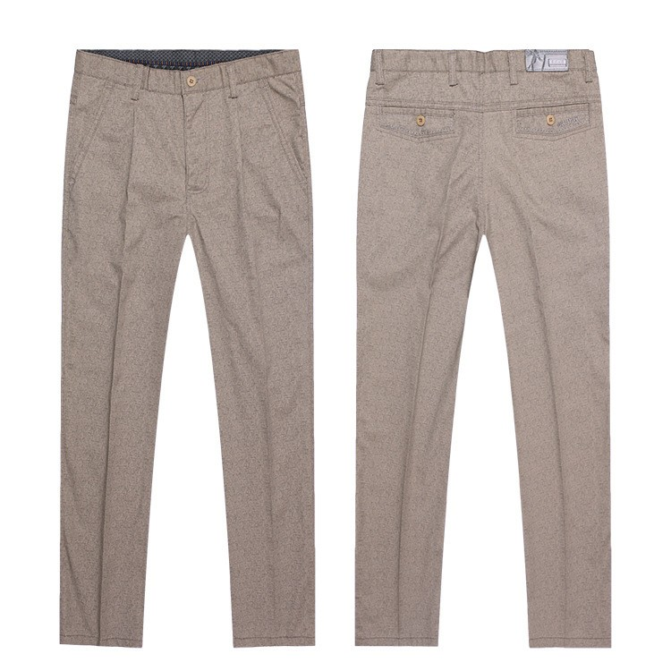 Mens Zipper Fly Khaki Formal Trousers