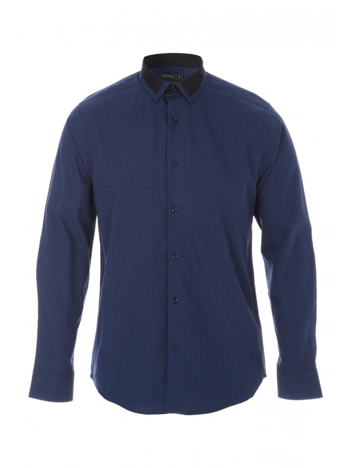 Modern Navy Blue Long Sleeve Formal Shirt