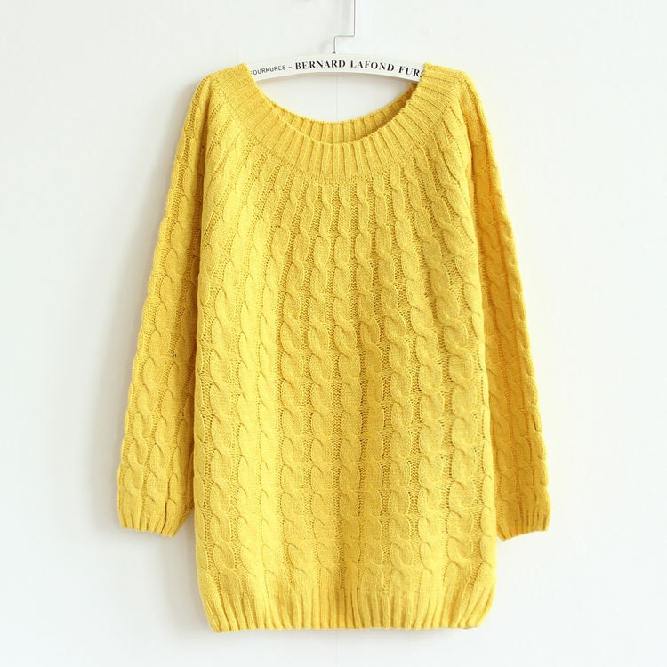 Multicolored Twist Knitted Casual Pullovers