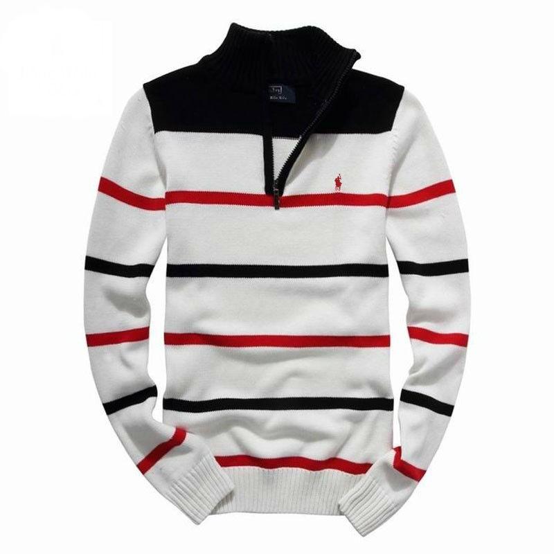 New Arrival Men Half Zipper Striped Pullovers