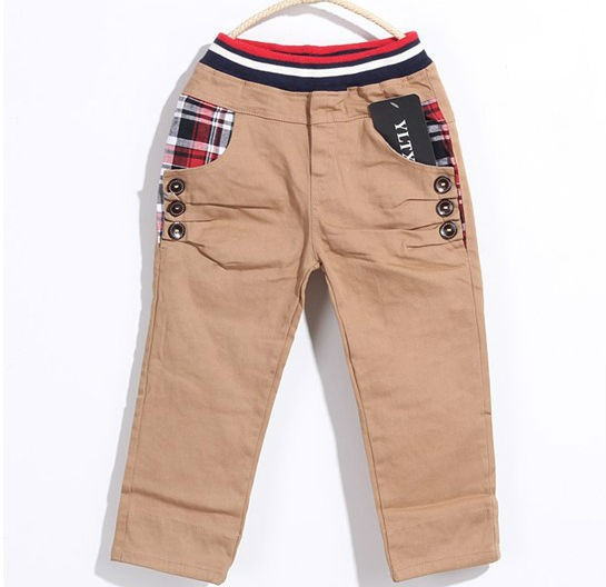 New Boy Plaid Pattern Casual Trousers