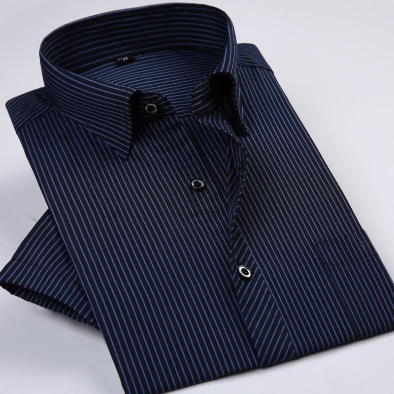 New Design Striped Short Sleeve Men Formal Shirts