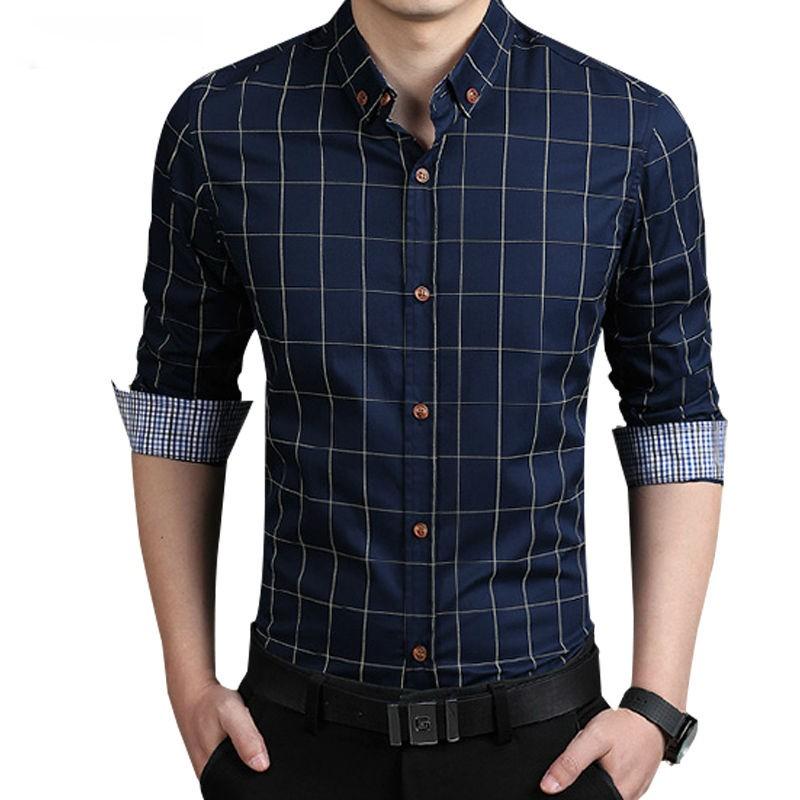 New Fashion Long Sleeve Slim Fit Casual Men Shirt