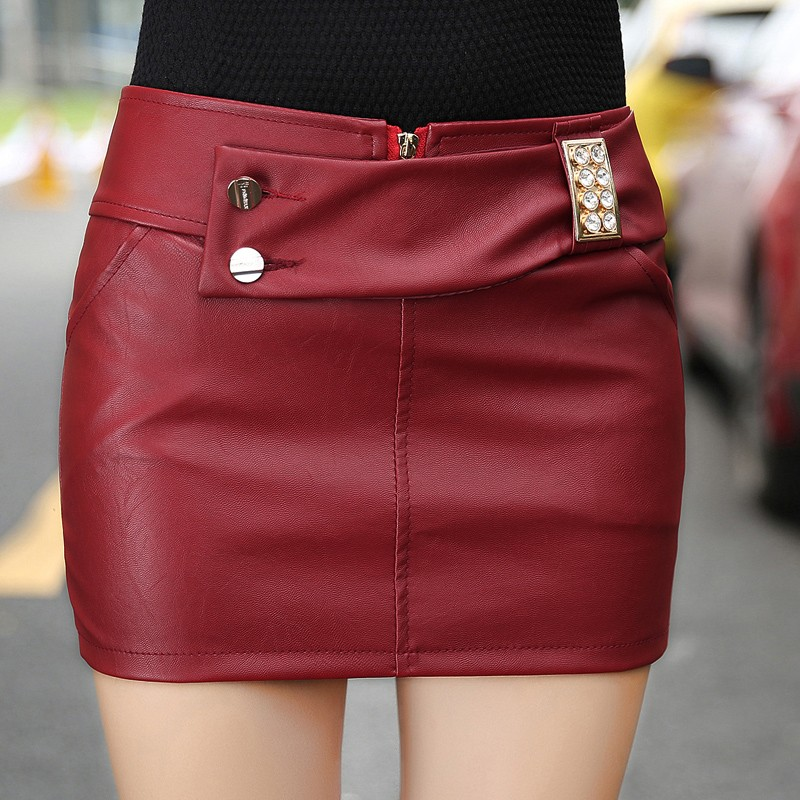 New Fashion Womens PU Leather Skirts