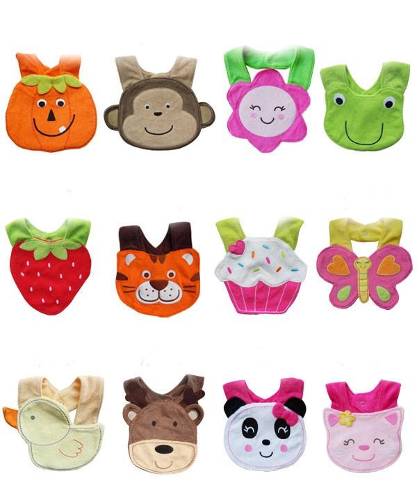 New Infant Boy Girl 3D Animal Soft Lunch Bibs