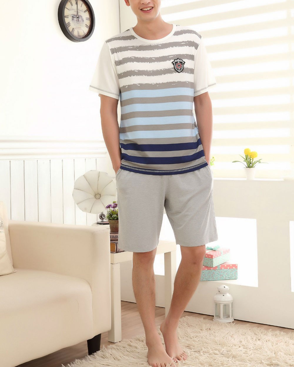 New Striped Pattern Casual Men Nightwear Sets