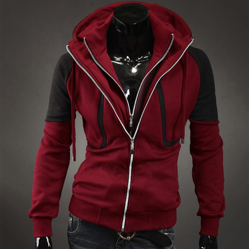 New Style Fleece Double Zipper Slim Long Sleeves Sweatshirt