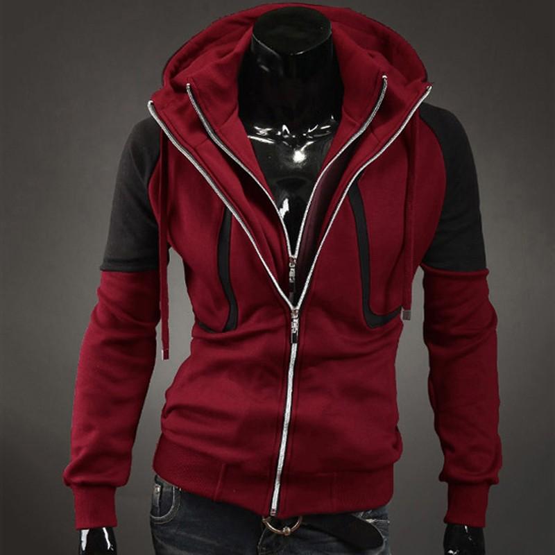 New Style Fleece Double Zipper Slim Long Sleeves Sweatshirt