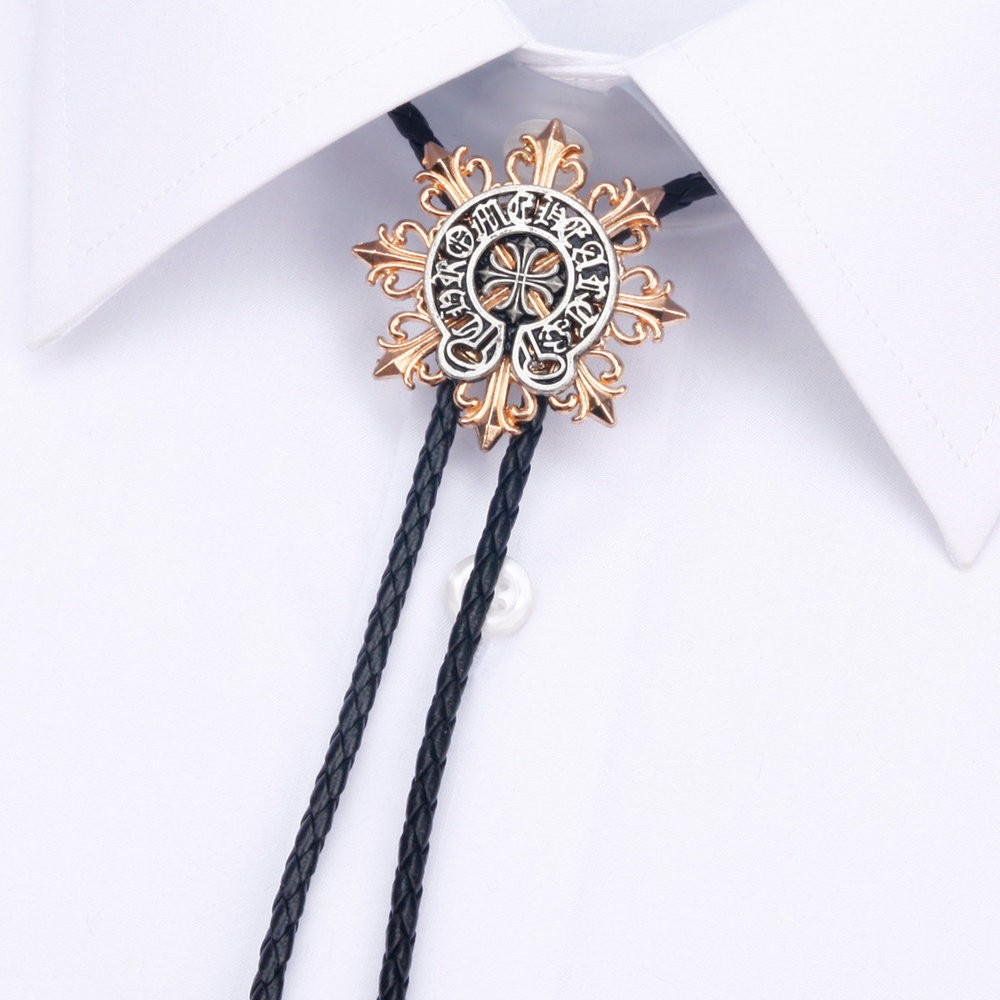 Octagonal Golden Flower Mens Bow Tie