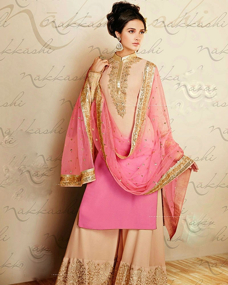 Pink And Cream Palazzo Style Straight Suit