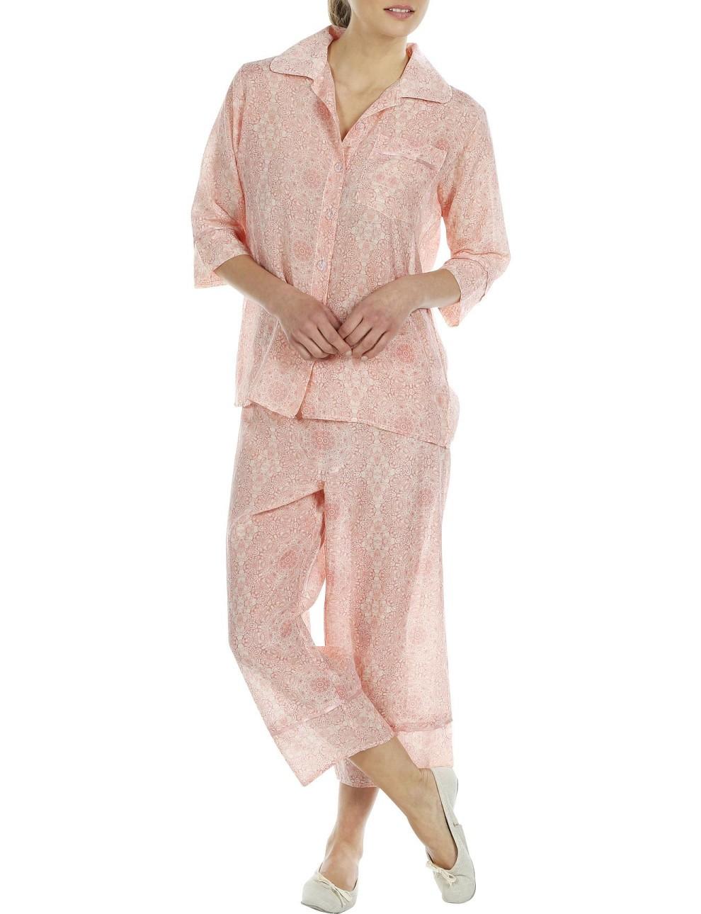 Pink Printed Top And 3/4 Pant Nightwear
