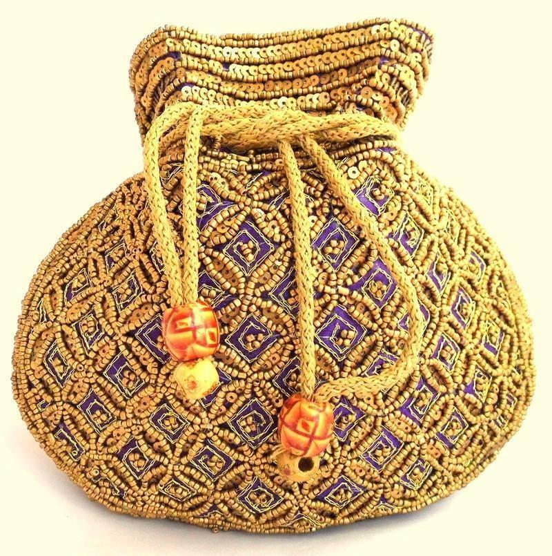 Purple Beaded Drawstring Potli Bag