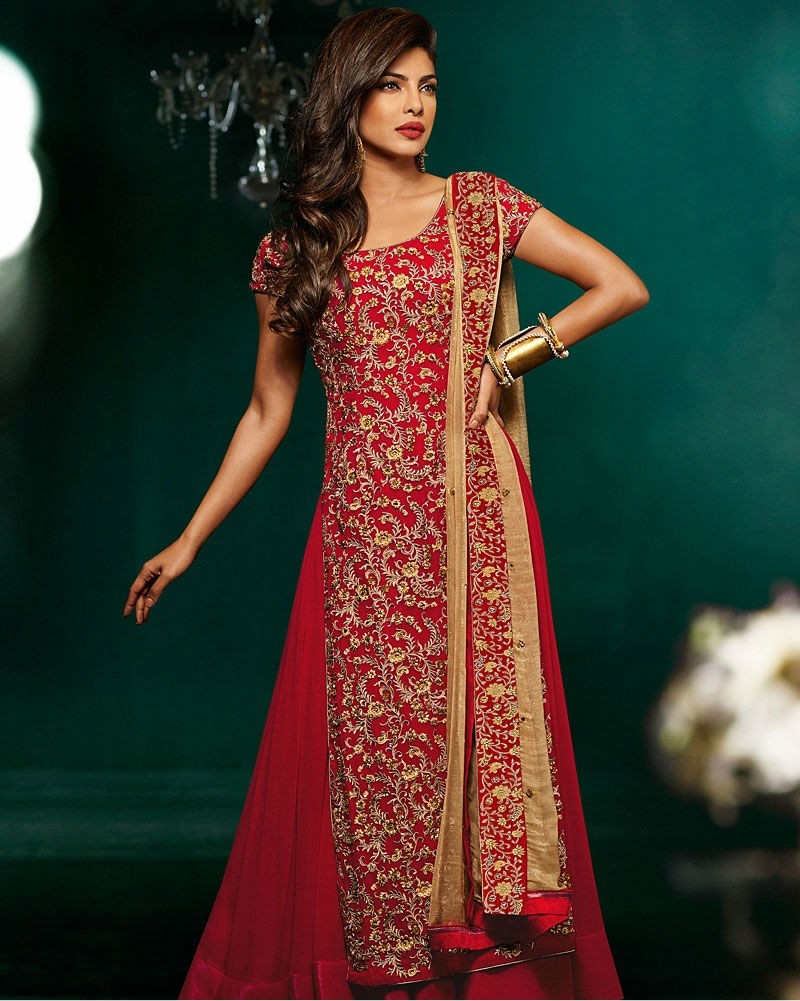 Red On Gold Embroidered Long Anarkali Suit