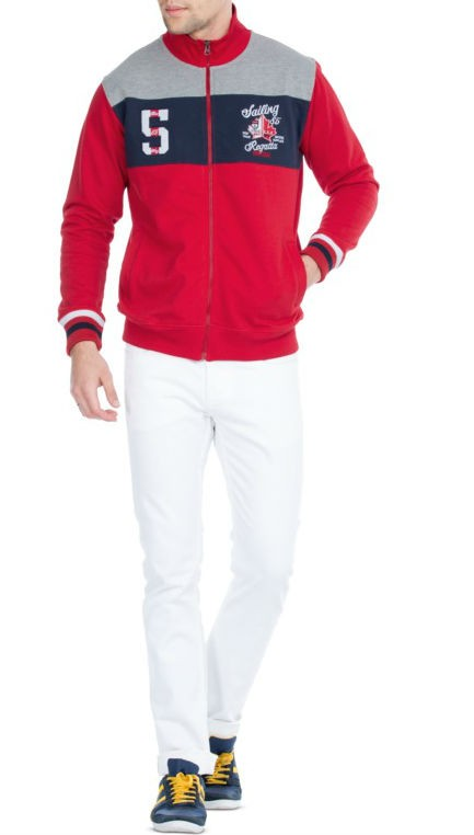 Red Zippered Full Sleeves Sweatshirt