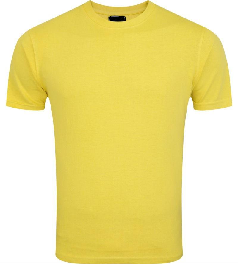 Ribbed Round Neck Lemon Yellow Tshirt
