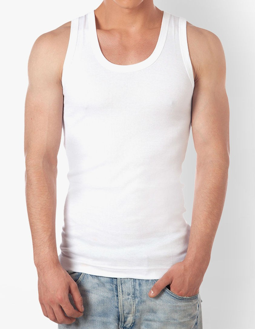 Sleeveless Solid White Round Neck Vest