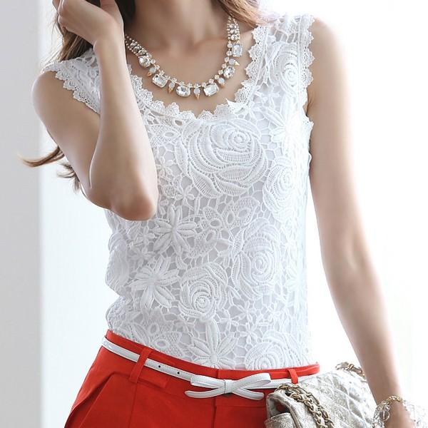 Sleeveless Womens Crochet Lace Tops