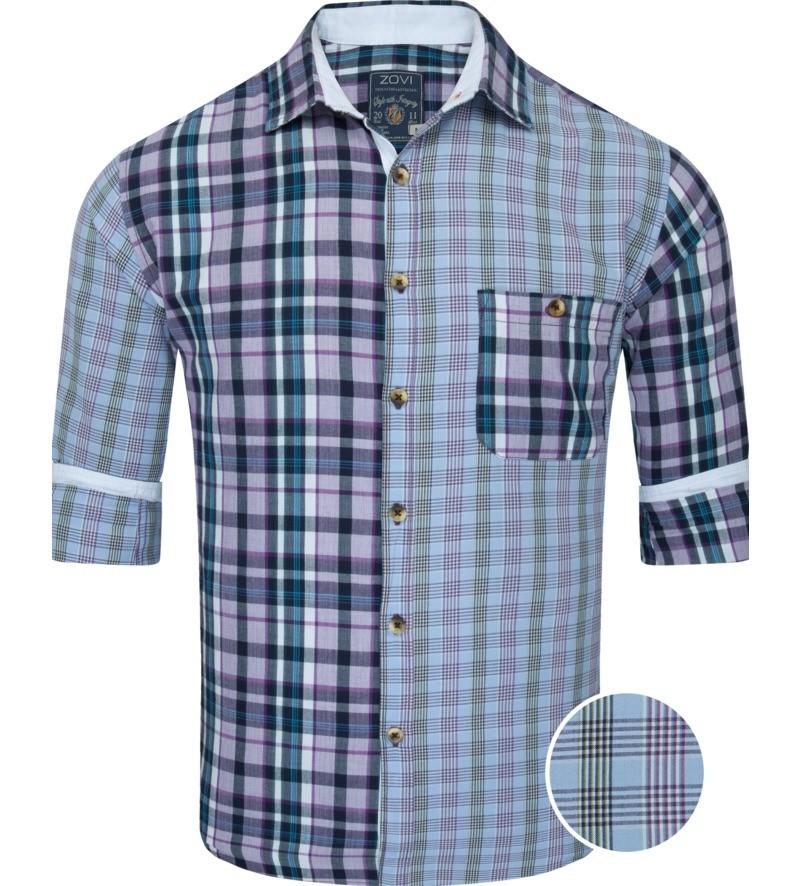 Slim Fit Multicolored Light Blue Checks Casual Shirt