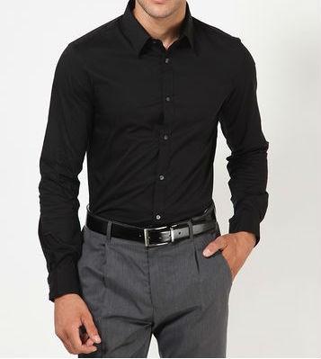Solid Black Formal Shirt