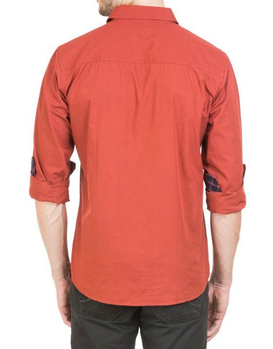 Solid Maroon Regular Fit Casual Shirt