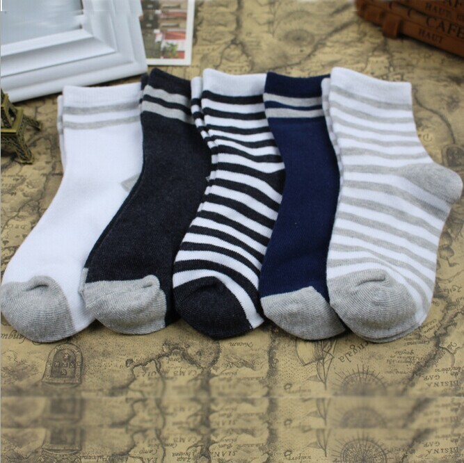 Striped Pattern Stylish Boys Winter Cotton Socks