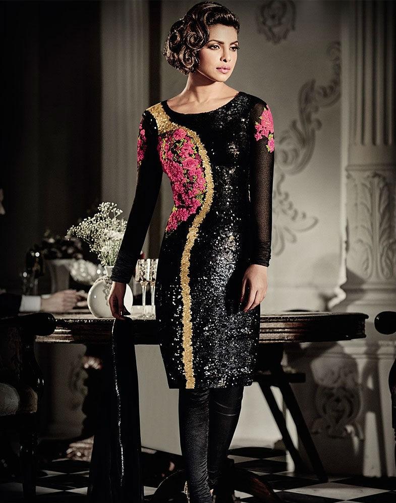 Stylish Black Net Floral Design Churidar Suit