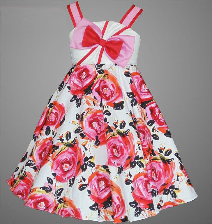 Stylish Flower Printed Girl Cute Dresses