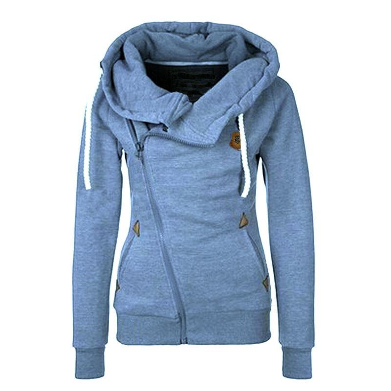Stylish Women Side Zipper Hoodie Sweatshirts