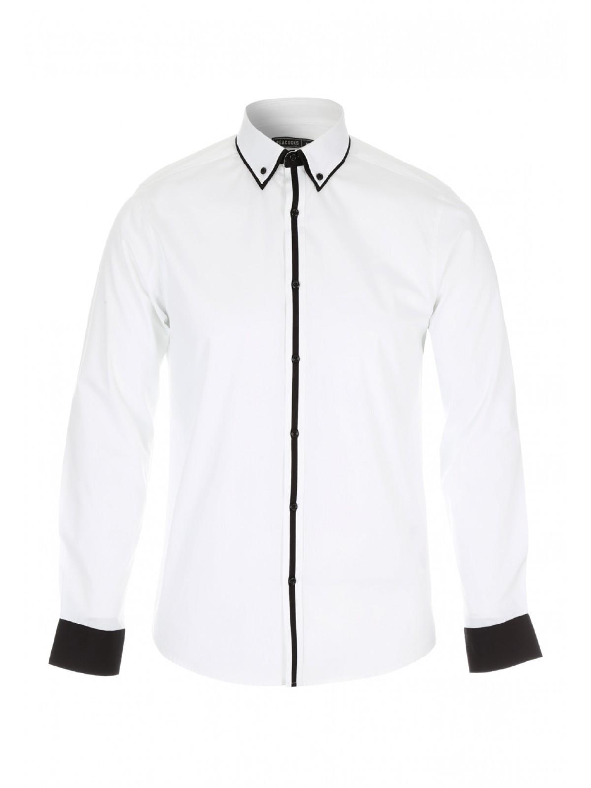 White Monochrome Long Sleeved Formal Shirt