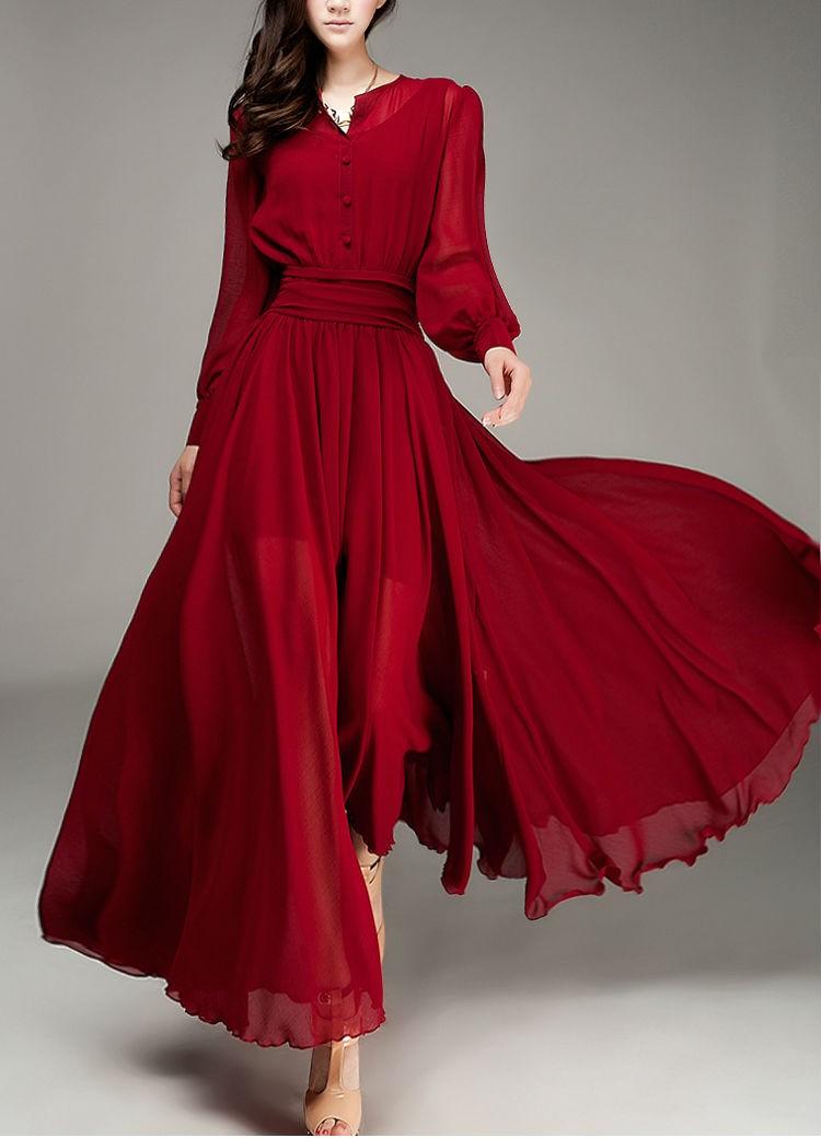 Wine Red Elegant Chiffon Fall Casual Dress