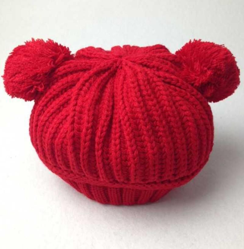 Winter Warm Dual Ball Knitted Cute Boy Caps