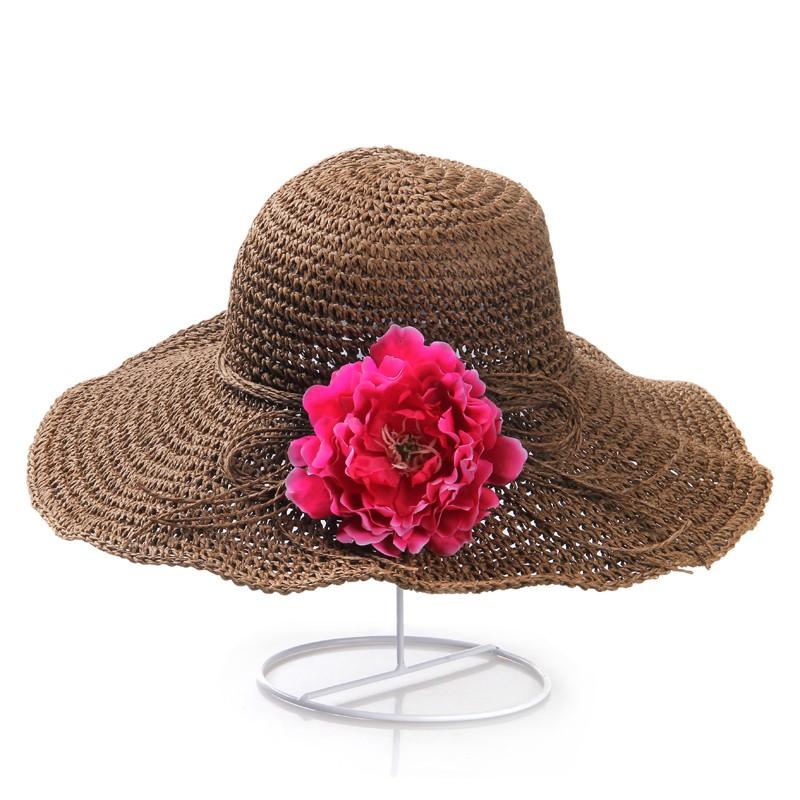 Womens Anti-UV Wide Brim Floppy Straw Foldable Hats
