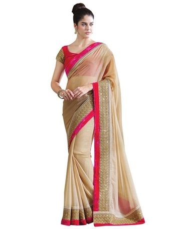 Womens Beige Embroidered Chiffon Saree With Blouse