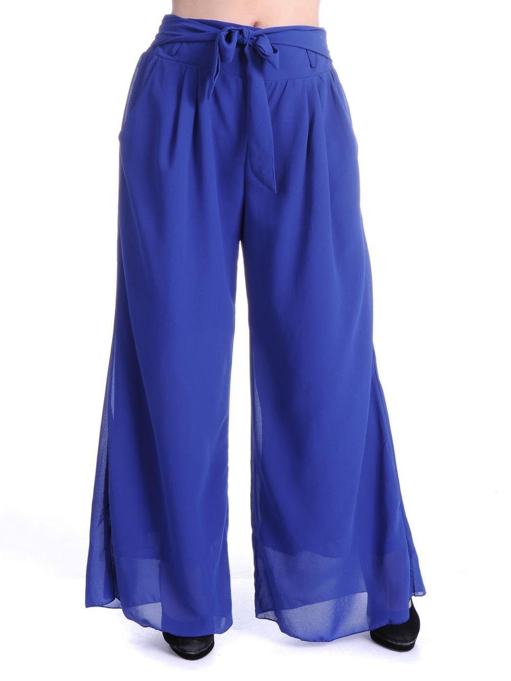 Womens Blue Wide Leg Style Tie Waist Chiffon Trousers