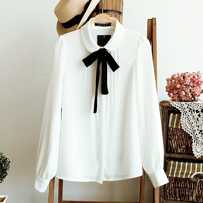 Womens Chiffon Bow Tie Formal Shirts