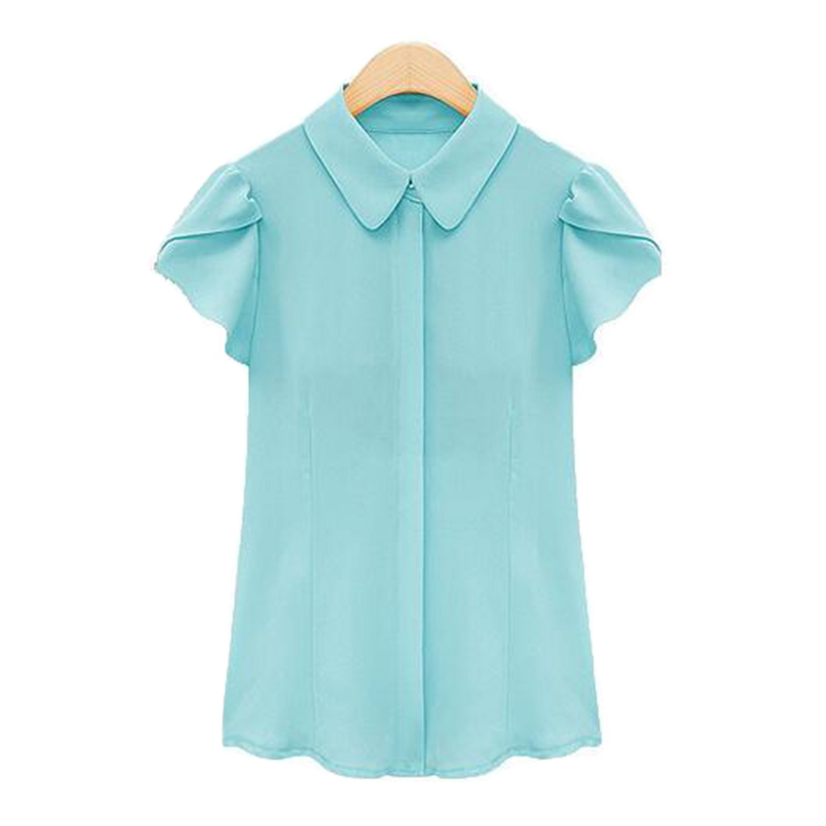 Womens Chiffon Ruffles Short Sleeve Formal Shirts