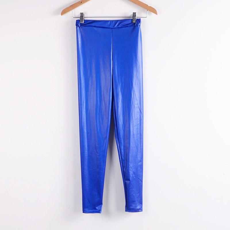 Womens Elastic Waist PU Leather Leggings