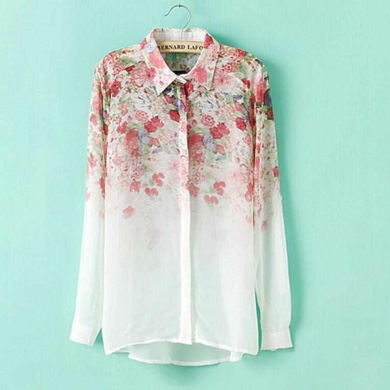 Womens Flower Print Chiffon Collar Long-Sleeve Shirts
