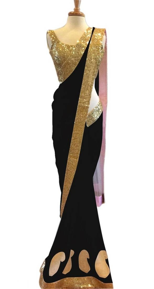 Womens Georgette Sarees With Blouse
