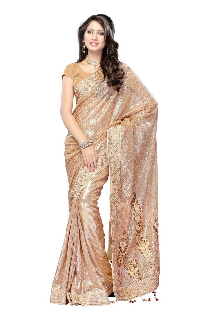 Womens Golden Viscose Sari With Blouse