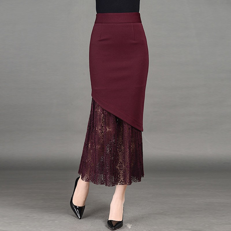 Womens Lace Patchwork High Waisted Skirts