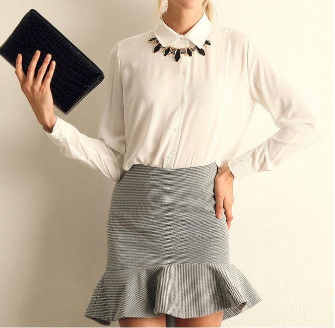 Womens Long-sleeve Chiffon Formal Shirts