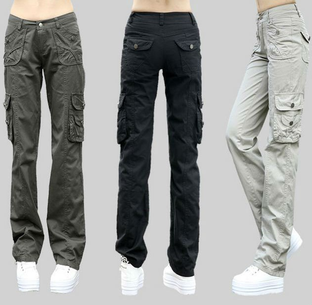 Womens Multi Pockets Straight Cargo Trousers