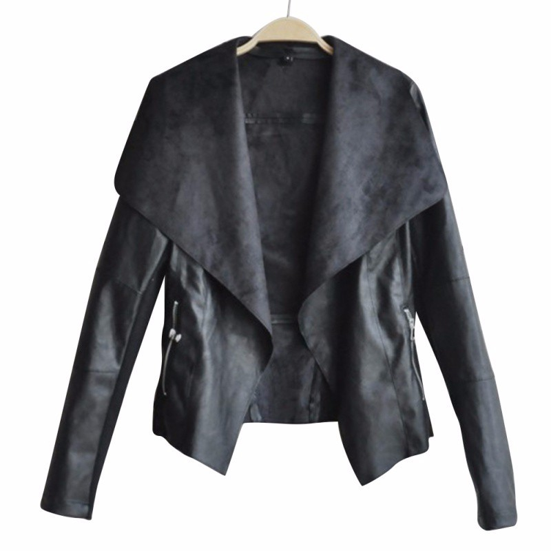 Womens New Black Faux Leather Jacket
