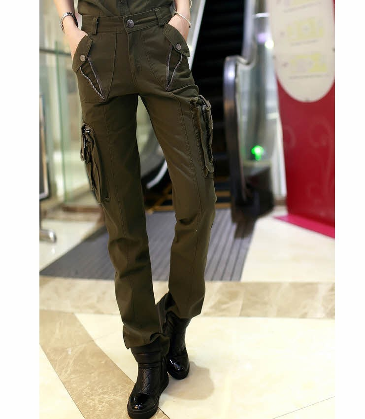 Womens New Camouflage Cargo Trousers
