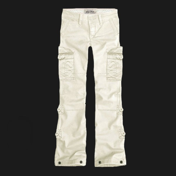Womens Solid Cotton Cargo Trousers