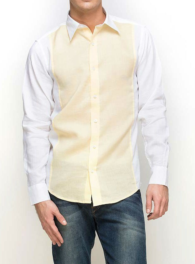 Yellow And White Linen Slim Fit Formal Shirt
