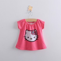 100% Cotton Pink Short Sleeve Girl Tshirt
