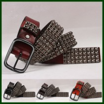 100% Genuine Leather Vintage Rivet Belts